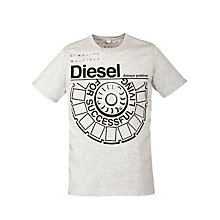 Buy Diesel T-Ballock Logo Crew Neck T-Shirt, Grey Online at johnlewis.com