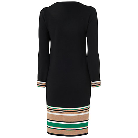 Buy Jaeger Merino Wool Striped Dress, Black Online at johnlewis.com