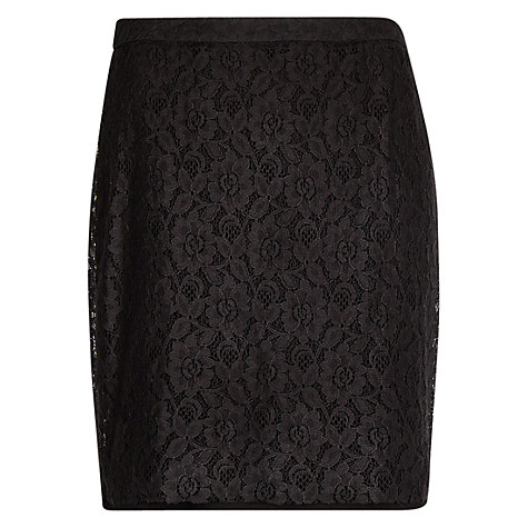 Buy Mango Lace Pencil Skirt, Black Online at johnlewis.com