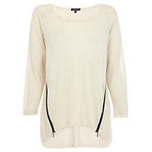Buy Warehouse Double Zip Stitch Jumper, Beige Online at johnlewis.com