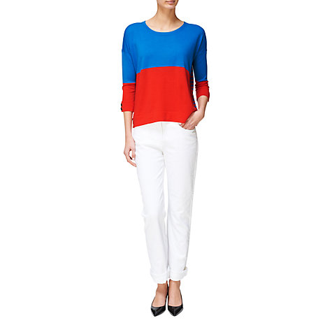 Buy Jaeger Contrast Stripe Jumper, Bright blue Online at johnlewis.com