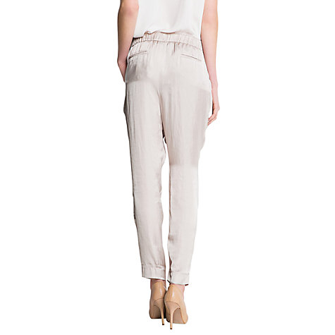 Buy Mango Baggy Satin Trousers, Stone Online at johnlewis.com