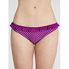 Buy John Lewis Ruffle Dot Bikini Briefs, Purple/White Online at johnlewis.com