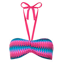 Buy John Lewis Feathered Stripe Twist Front Bikini Top, Blue/Pink Online at johnlewis.com