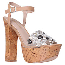 Buy KG by Kurt Geiger Nala Cork Heeled Sandals, Nude Online at johnlewis.com