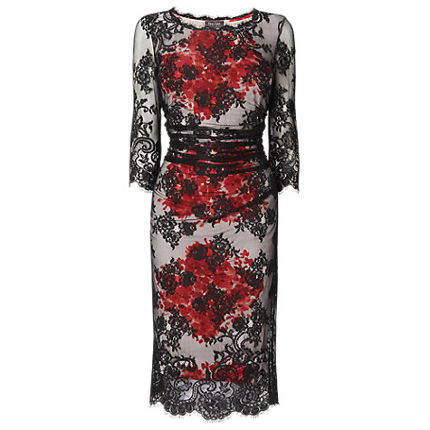 Buy Phase Eight Marie Lace Dress, Black/Poppy Online at johnlewis.com