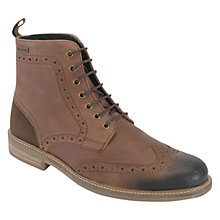 Buy Barbour Belsay Leather Brogue Boots, Dark Tan Online at johnlewis.com