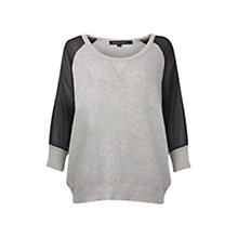 Buy French Connection Contrast Sleeve Sweatshirt Top, Light Grey/Black Online at johnlewis.com