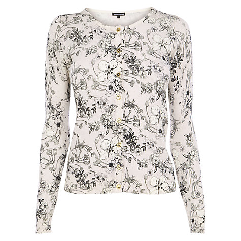 Buy Warehouse Printed Crew Neck Cardigan, Multi Online at johnlewis.com