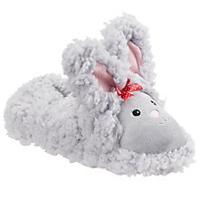 Buy John Lewis Girl Fluffy Bunny Slippers, Grey Online at johnlewis.com