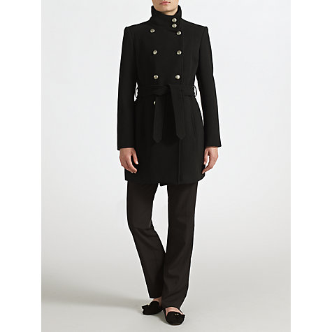 Buy John Lewis Ella Button Detail Coat, Black Online at johnlewis.com