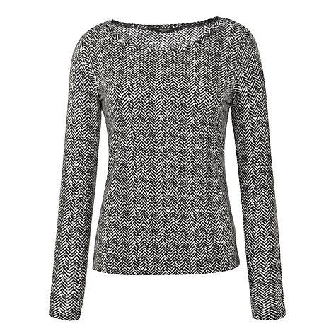 Buy Weekend by MaxMara Chevon Print Jersey Top, Black Online at johnlewis.com
