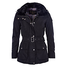 Buy Barbour International Outlaw Faux Fur Collar Jacket, Black Online at johnlewis.com