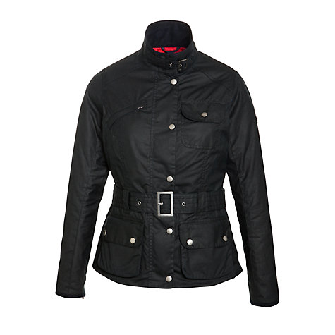 Buy Barbour Hillberry Belted Waxed Jacket, Blue Online at johnlewis.com