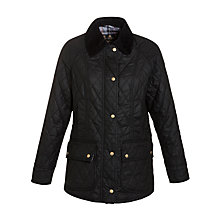 Buy Barbour Quilted Waxed Beadnell Jacket, Black Online at johnlewis.com