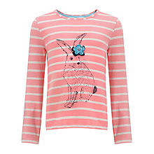 Buy John Lewis Girl Rabbit Striped Long Sleeve Top, Pink Online at johnlewis.com