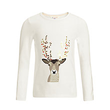 Buy John Lewis Girl Sequin Antlers Long Sleeved Top, Cream Online at johnlewis.com