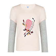 Buy John Lewis Girl Owl Graphic Long Sleeve Top, Pink Online at johnlewis.com