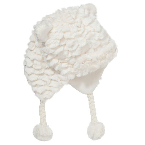 Buy John Lewis Girl Faux Fur Trapper Hat, Cream Online at johnlewis.com