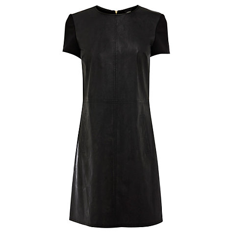 Buy Oasis Leather Look Shift Dress, Black Online at johnlewis.com