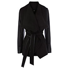 Buy Oasis Leather Look Sleeve Coat, Black Online at johnlewis.com