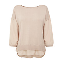 Buy Oasis Mixed Texture Jumper, Cream Online at johnlewis.com