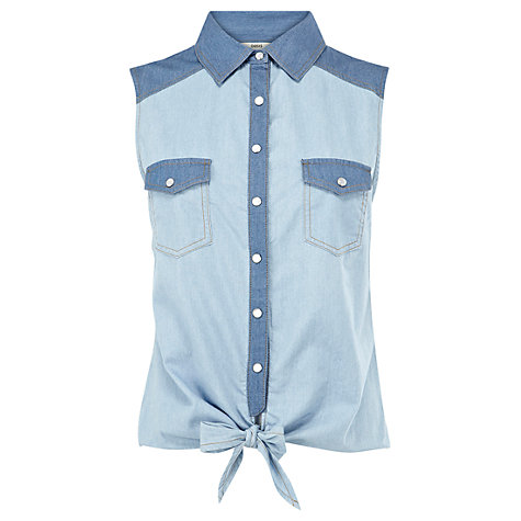 Buy Oasis Contrast Tie Front Shirt, Denim Online at johnlewis.com