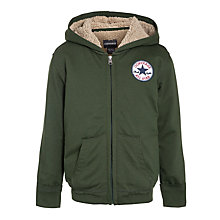 Buy Converse Boys' Teddy Fleeced Lined Hooded Jumper, Green Online at johnlewis.com