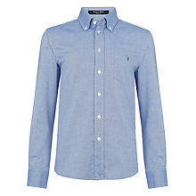 Buy Gant Boys' Long Sleeved Cobo Oxford Shirt, Blue Online at johnlewis.com