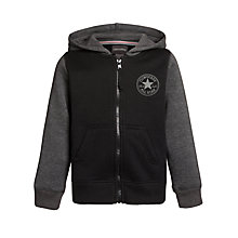Buy Converse Boys' Chuck Patch Zip-Through Hoodie, Black/Grey Online at johnlewis.com