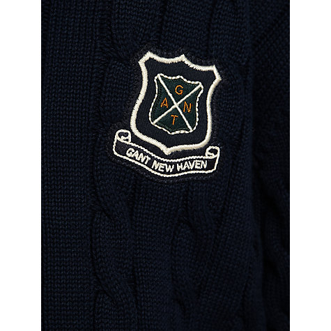 Buy Gant Boys' Uni Cable-Knit V-Neck Jumper, Navy Online at johnlewis.com