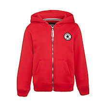 Buy Converse Boys' Chuck Patch Zip-Through Hoodie, Red Online at johnlewis.com