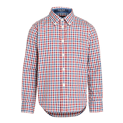 Buy Gant Boys' Heather Poplin Cobo Long Sleeved Shirt, Red Online at johnlewis.com