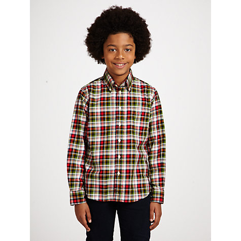 Buy Gant Boys' Park Avenue Long Sleeved Shirt, Red/Green Online at johnlewis.com