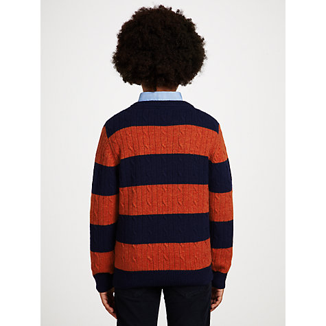 Buy Gant Boys' Striped Cable Knit Jumper Online at johnlewis.com