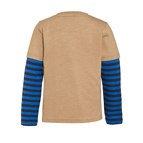 Buy John Lewis Boy Ant Mock Sleeve Top, Beige/Blue Online at johnlewis.com