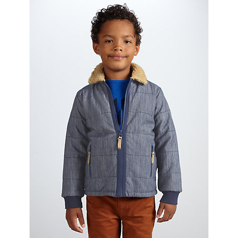 Buy John Lewis Boy Borg Collar Sweat Jacket, Navy Online at johnlewis.com