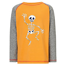 Buy John Lewis Boy Skeleton Long Sleeve T-Shirt, Orange Online at johnlewis.com