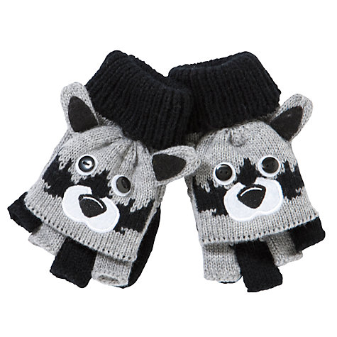 Buy John Lewis Boy Raccoon Flip Gloves, Grey/Black Online at johnlewis.com