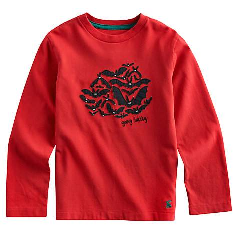 Buy Little Joule Junior Jack Bat Long Sleeve Top, Red Online at johnlewis.com