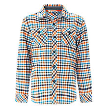Buy John Lewis Boy Tattersall Check Shirt, Orange/Navy/Blue Online at johnlewis.com