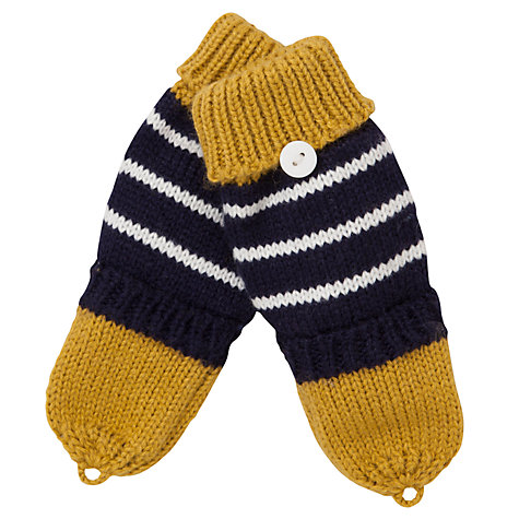 Buy John Lewis Boy Skull & Crossbone Flip Gloves, Navy/Cream Online at johnlewis.com