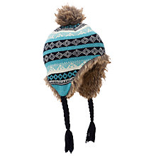 Buy John Lewis Boy Fair Isle Trapper Hat, Navy/Cream Online at johnlewis.com