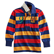 Buy Little Joule Junior Wesley Rugby Shirt, Blue/Multi Online at johnlewis.com