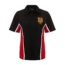 Buy Dame Alice Owens School Unisex Sport Polo Shirt, Black/Red Online at johnlewis.com