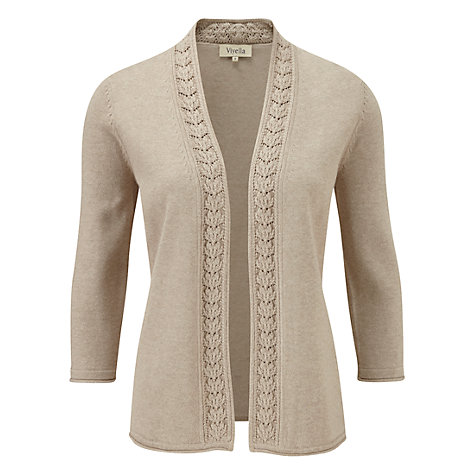 Buy Viyella Leaf Stitch Cardigan, Clay Online at johnlewis.com
