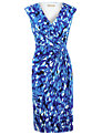 Planet Printed Wrap Dress, Blue
