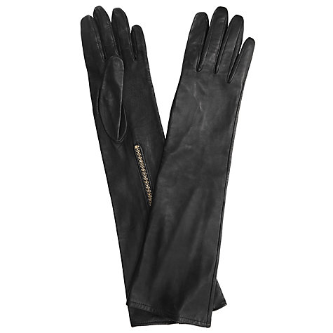Buy Somerset by Alice Temperley Zip Long Leather Gloves, Black Online at johnlewis.com