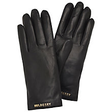 Buy Mulberry Letter Leather Gloves, Black Online at johnlewis.com