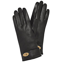 Buy Mulberry Postmans Lock Leather Gloves, Black Online at johnlewis.com